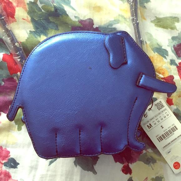 96c4966b38b Zara Bags | Blue Metallic Elephant Cross Body Bag | Poshmark